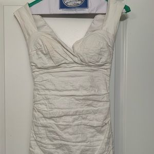 Winter white Nicole Miller ruched dress